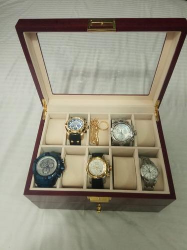 caja de reloj madera de lujo organizadora 20 ranuras