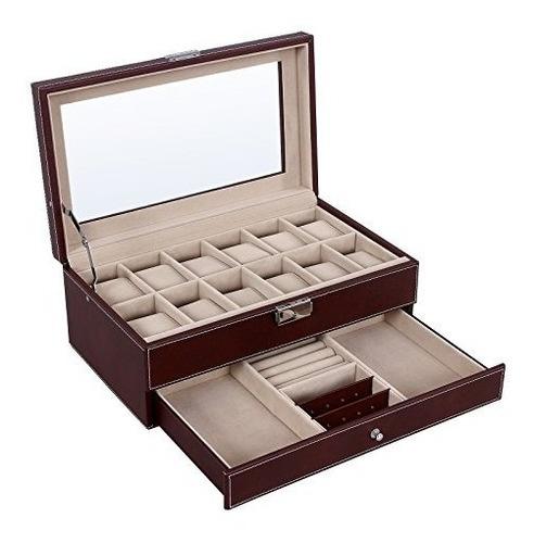 caja de reloj songmics organizador de joyería caja brown con