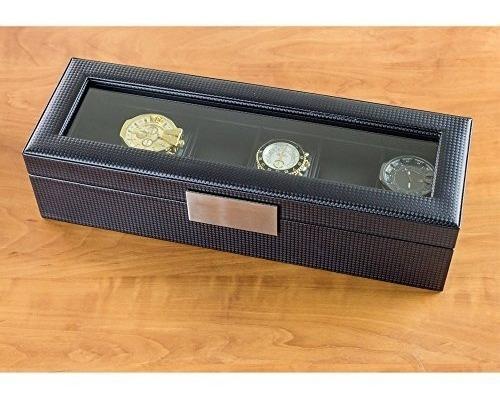 caja de relojes para hombre  estuche con 6 compartimentos, f