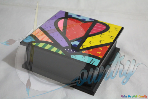 caja de servilletas tapa grande resinado arte britto