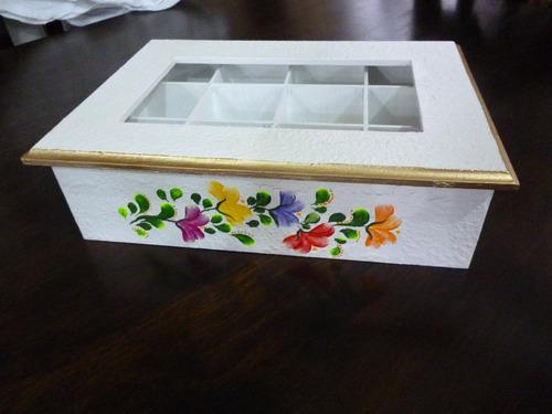 caja de té 12 divisiones con tapa de vidrio
