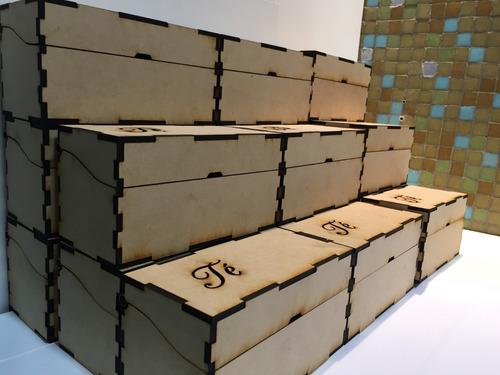 caja de te 2 division 14x7x7,5 ideal souvenir fibrofacil 3mm