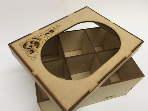 caja de te 6 divisiones 15x20x10 fibrofacil 3mm