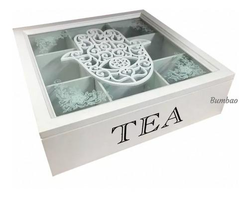 caja de té arabe caja de madera decorativa con divisiones