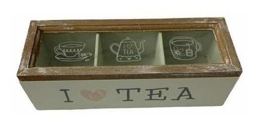 caja de te artesanal 3 divisiones madera vidrio oferta deco