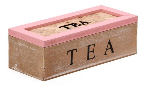 caja de te de madera organizador saquitos x 3 divisiones