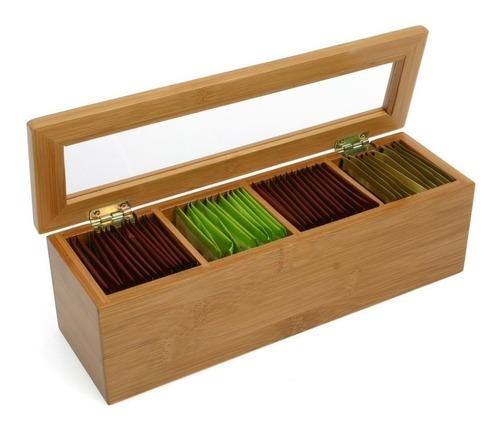 caja de te en madera de bambu 4 divisiones