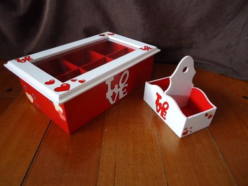 caja de té seis divisiones y porta sobres azúcar-edulcorante