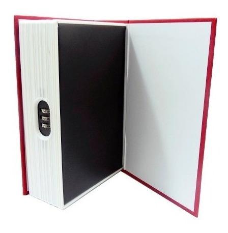 caja de valor forma de libro plastico 18 cm con combinacion