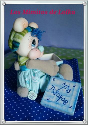 caja decorada muñeco soft tela