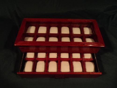 caja estuche de madera para guardar coleccion de 24 relojes