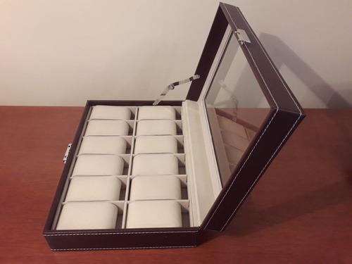 caja estuche para guardar 12 relojes.(ideal regalo)