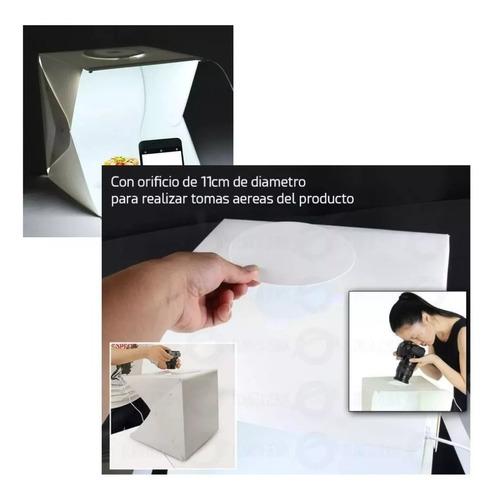caja estudio fotografico portatil luz led 40x40  2 fondos