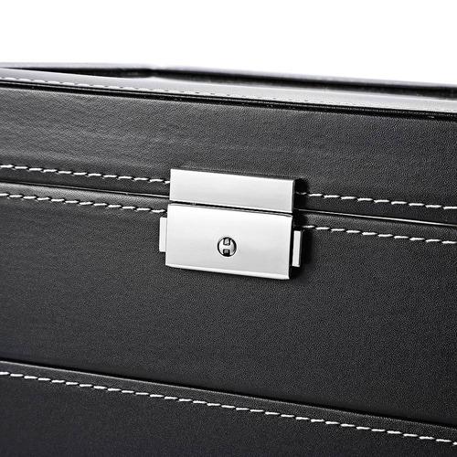 caja exhibidora con cajón pu p/relojes/joyas 20 divisiones