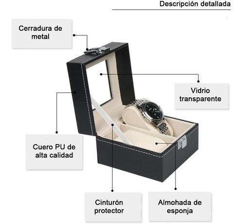 caja exhibidora estuche para 2 relojes o joyas, cristal