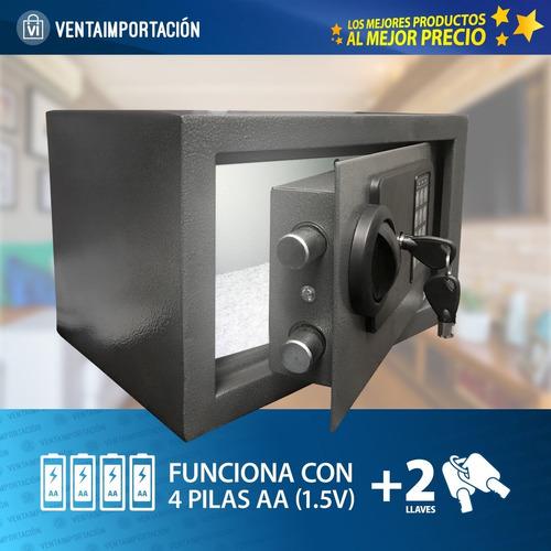 caja fuerte  seguridad digital  luz acero 31x20x20 llaves x2