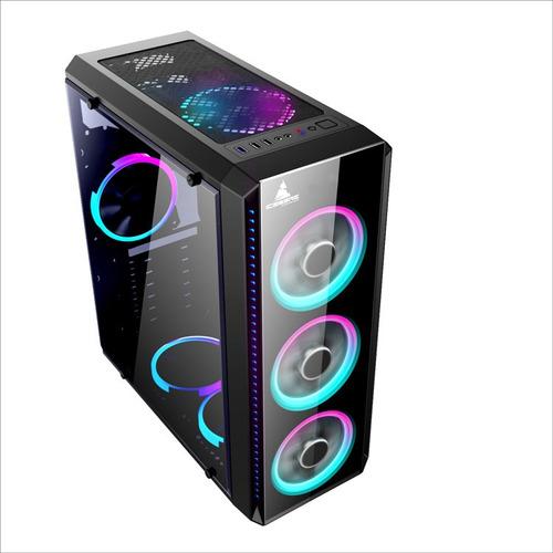 caja gabinete iceberg crystal g9 atx - 4 ventiladores rgb