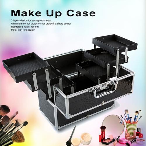 caja grande organizador de cosmticos maquillaje caso para