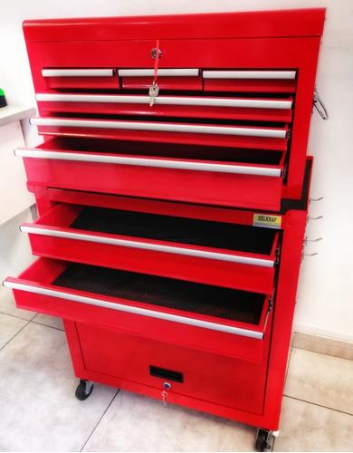 caja herramienta porta carro taller metálico ruedas delkraf