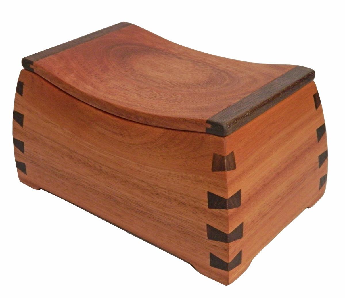 Caja Joyero Alhajero Curvo En Finas Maderas De Cedro Y Nogal  # Muebles Cedro Y Nogal