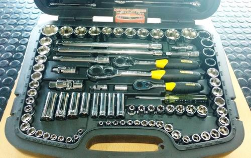 caja juego de herramientas 120 piezas tubos y llaves stanley