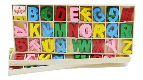 caja juego de letras de madera abecedario - 104 letras