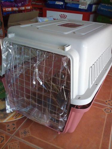 caja kennel 3 jaula transporte guacal perro mediano 68x47x46