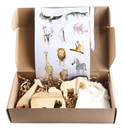 caja kit animales de selva 3 piezas + stickers + memotest