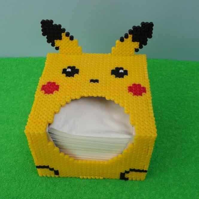 Caja Kleenex Pokemon Pikachu Perler Bead Pixeles - $ 550 00