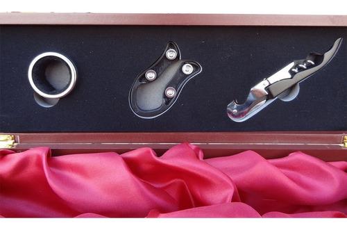 caja madera set de vino con 3 accesorios regalo empresarial