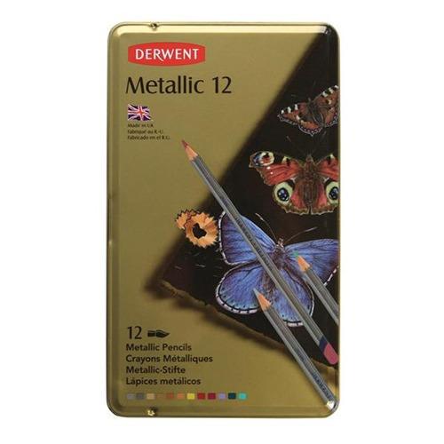 caja metalica c/12 lapices metallic derwent