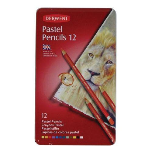 caja metalica c/12 lapices pastel derwent
