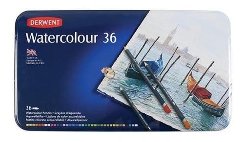 caja metalica c/36 lapices acuarelables derwent