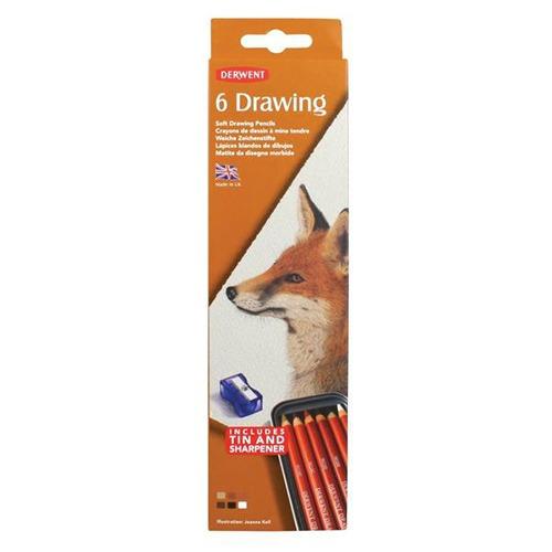 caja metalica c/6 lapices drawing derwent