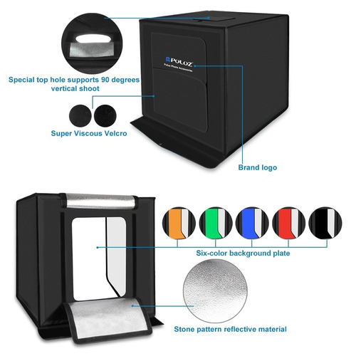 caja mini estudio fotográfico pro plegable luz led 40x40 cm