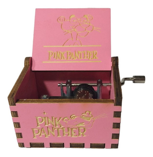caja musical de manivela de la pantera rosa de colección