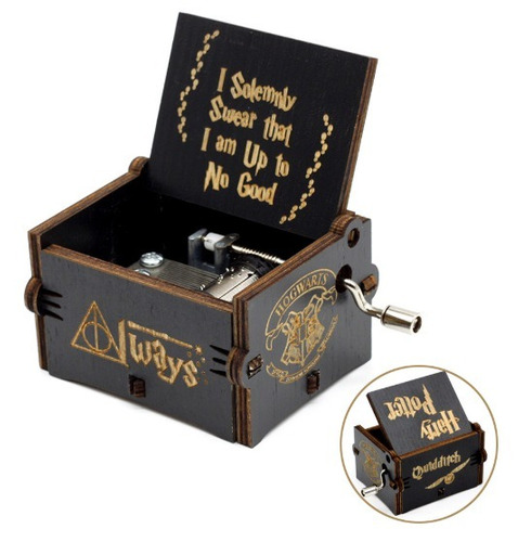 caja musical harry potter, music box, negra, hogwarts always