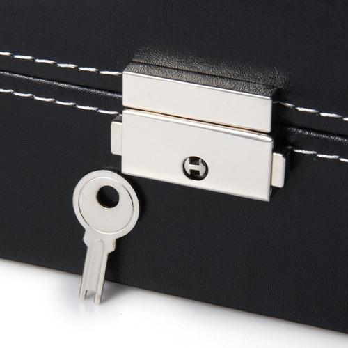 caja organizador /joyas/relojes 12 compartimentos polipiel