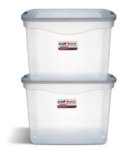 caja organizador plastico apilable tapa taper 80 litros x 2 colombraro