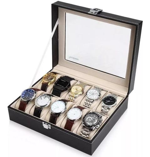 caja organizadora 10 compartimentos polipiel joyas relojes