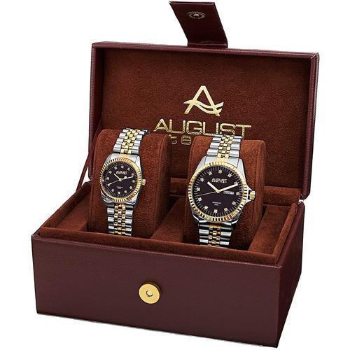 caja organizadora + 2 relojes mujer y hombre august steiner
