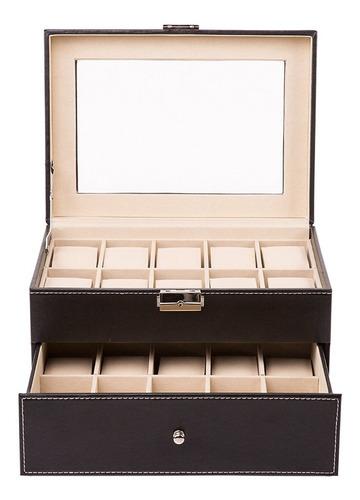 caja organizadora 20 relojes de lujo con cajonera  / m. o.
