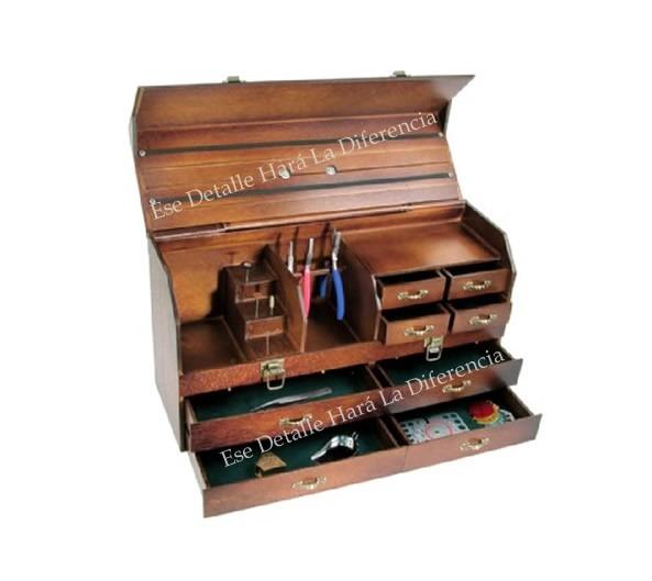 Caja organizadora de madera para herramientas de joyer a for Casas de madera para guardar herramientas