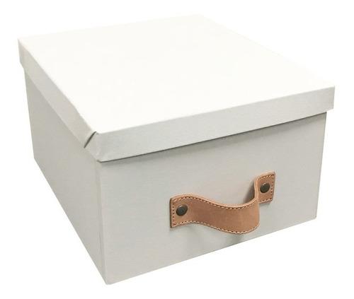 caja organizadora decorativa blanca manija cuero 25x30x17cm