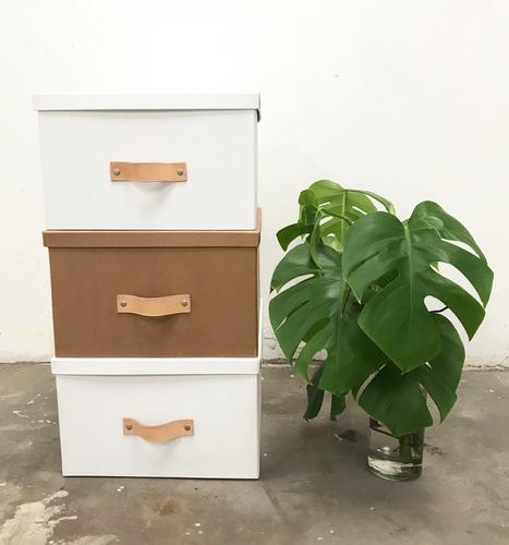 caja organizadora decorativa blanca manija cuero 35x45x25cm