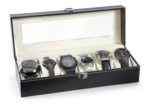 caja organizadora para 6 relojes gris negra hermosa estuche