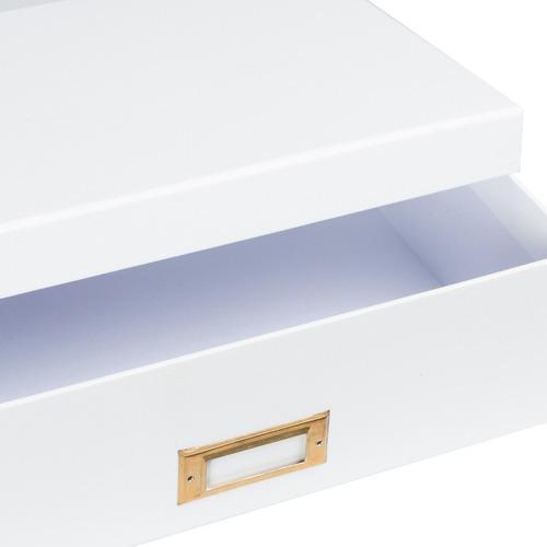 caja organizadora tamaño a4 blanca rotulador dorado metálico