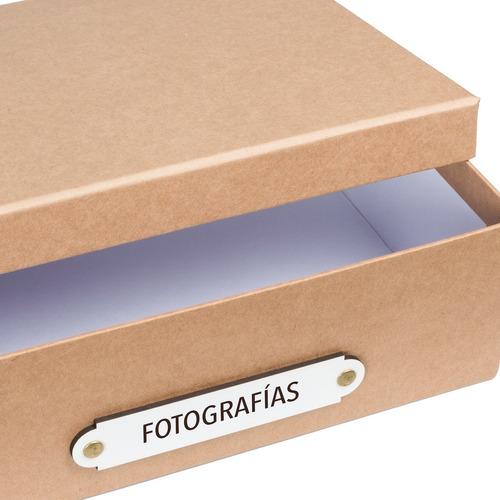 caja organizadora tamaño a4 fotografías kraft