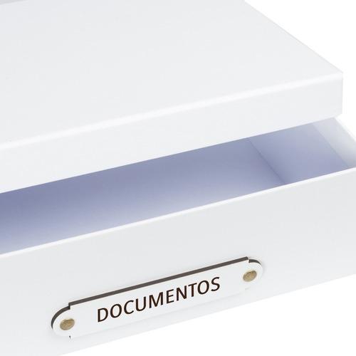 caja organizadora tamaño a4 rotulo documentos blanca