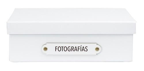caja organizadora tamaño a4 rotulo fotografías blanca